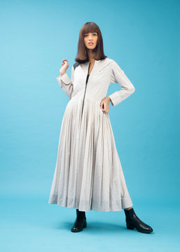 Long White Pleated Dress with Long Sleeves