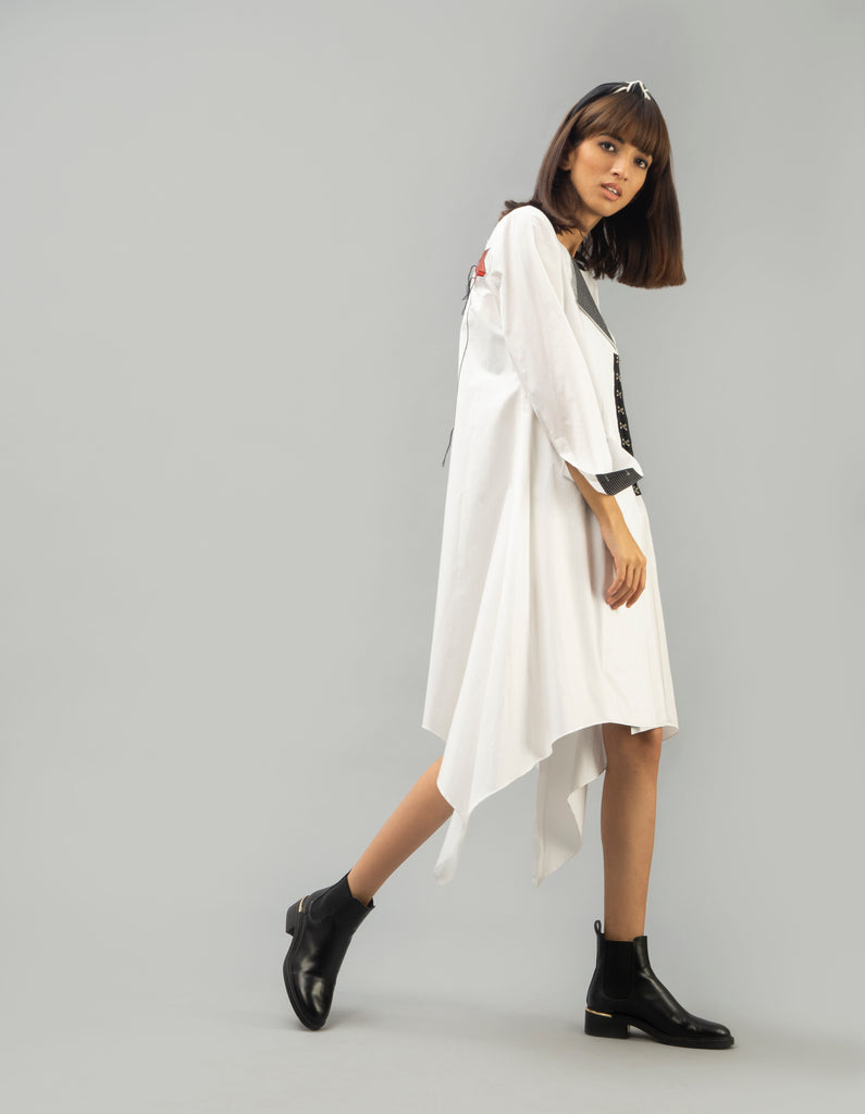 Off White Asymmetric Dress