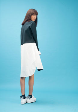 Knee Length Shirt Dress with Colour Blocking