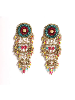 Multi Colour Traditional Crest Earrings