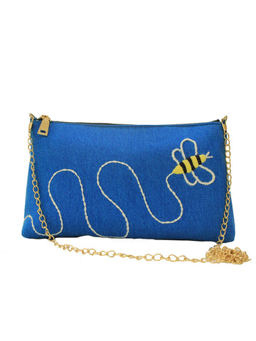 On-the-Go Denim Busy Bee Sling Bag