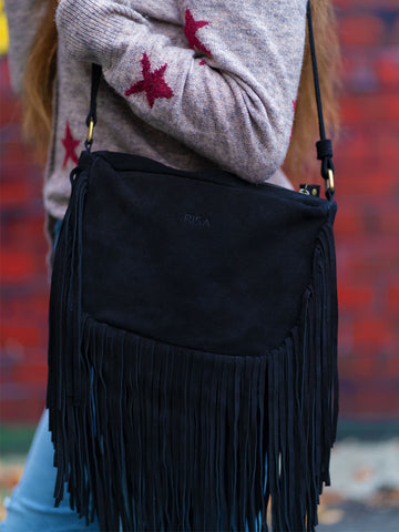 Black Boho Fringe Crossbody Suede