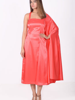 Coral Sleeveless Dress with Cape