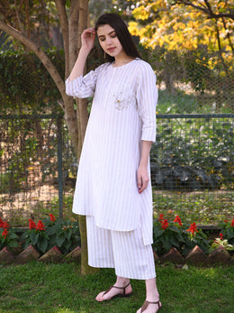 Beige Stripes Long Tunic