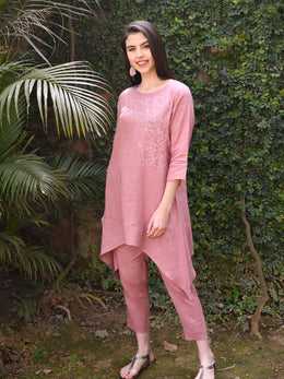 Asymmetrical Rose Pink Floral Embroidered Tunic