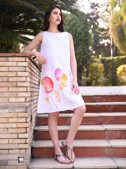 Ivory Handpainted Sleeveless Dress with Lining