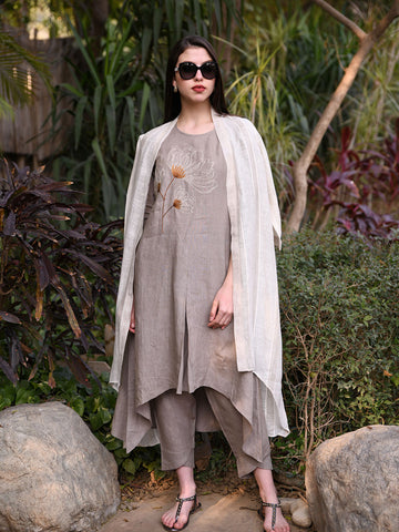 Solid Khakhi Asymmetric Tunic with Floral Embroidery