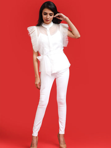 White Organza Shirt With Exaggerated Sleeve Detail