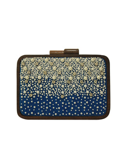 Statement Wooden Denim Pearl Clutch with Gold Chain