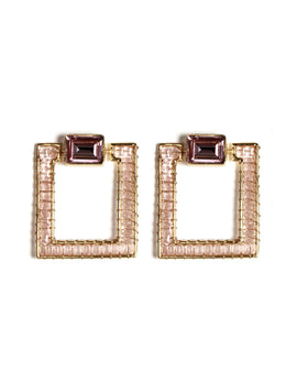 Dhani Earrings With Pink Toned Stone