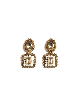 Duple Bond Earrings Featuring Gold Faceted Stone