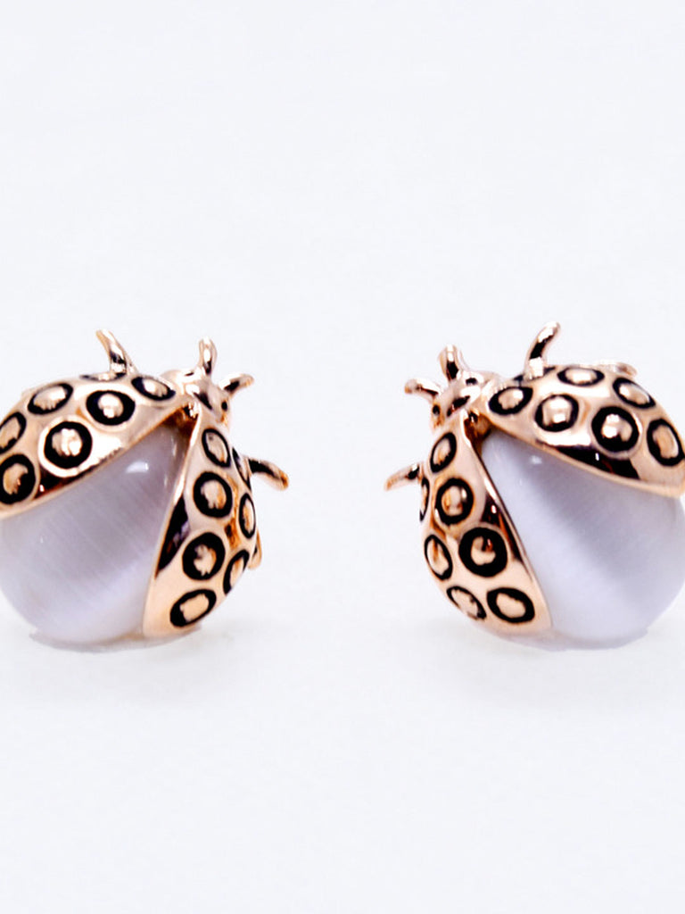 Rose Gold Lady Bug Earrings