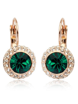 Rose Gold Plated Emerald Green Nia Earrings
