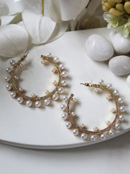 Pearl Isabella Gold Hoops