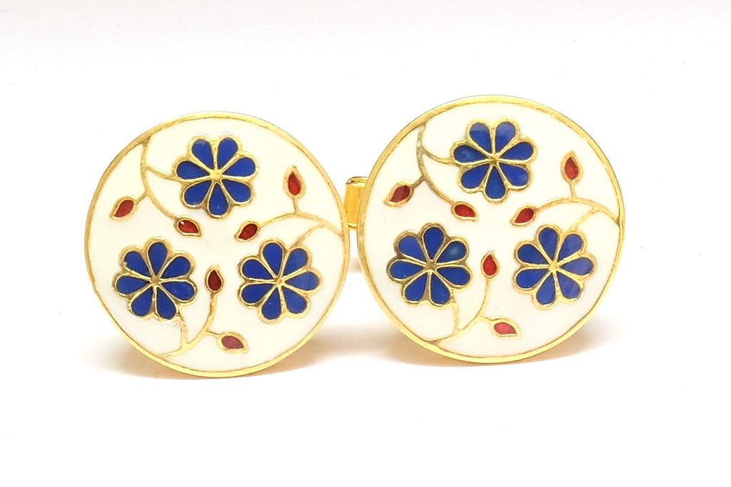 White and Blue Enamel Floral Cufflinks