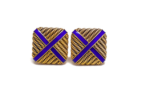 Gold and Cobalt Blue Enamel Cufflinks