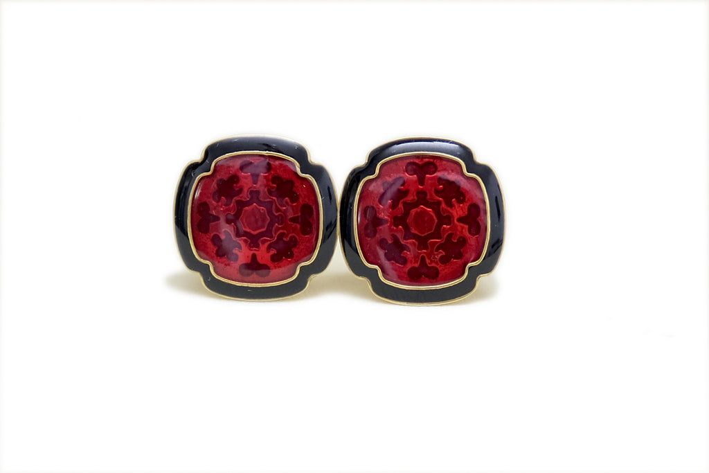 Red and Black Enamel Cufflinks