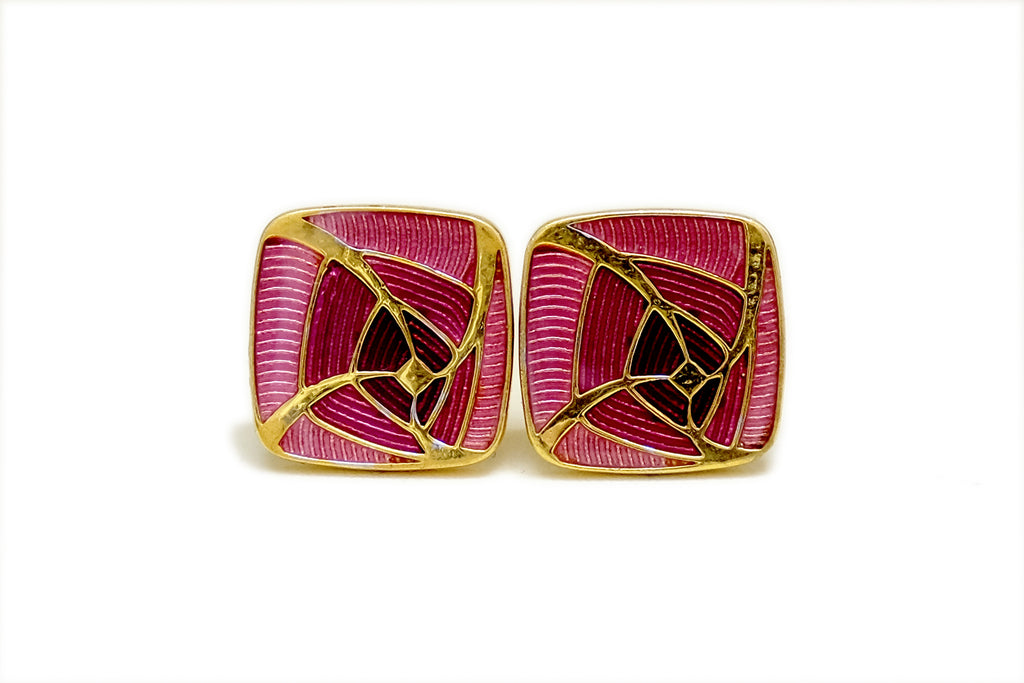 Gold, Pink and Red Enamel Cufflinks