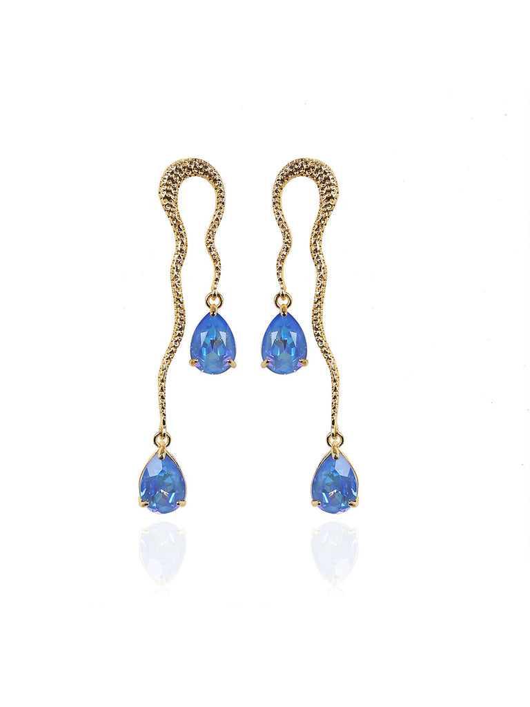 Pear Shaped Swarovski Crystal Blue and Gold Danglers