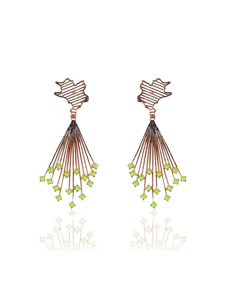 Swarovski Crystal Green Earrings with Flared Structure