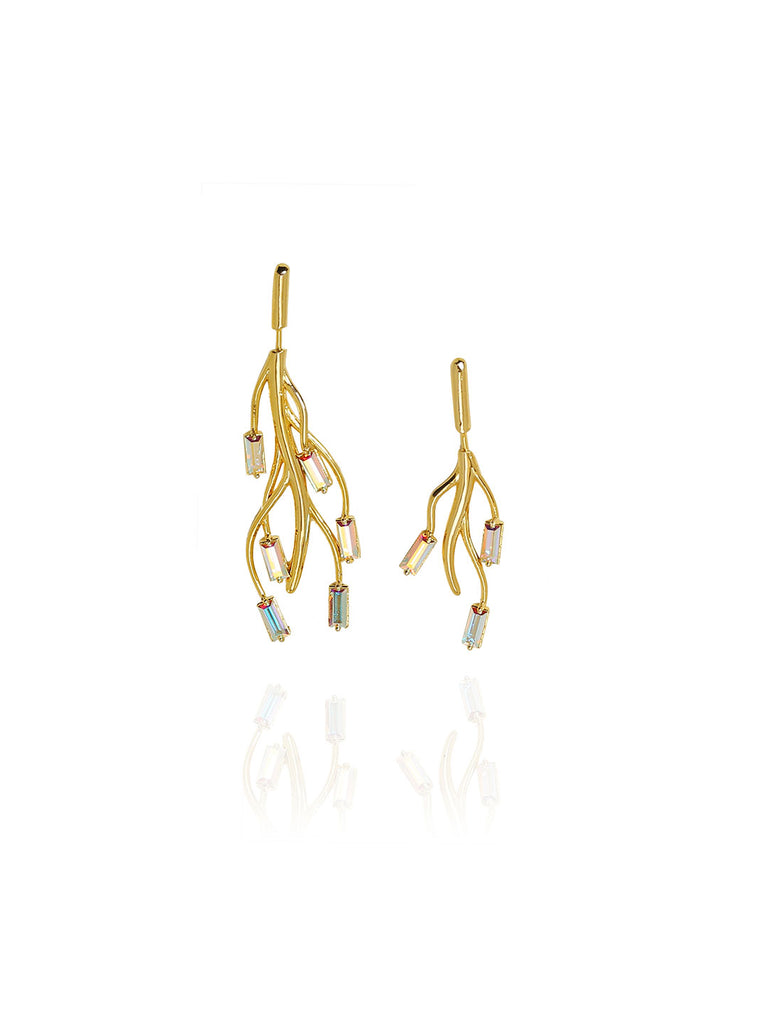 Mismatch Earrings Studded with Twinkling Swarovski Baguettes