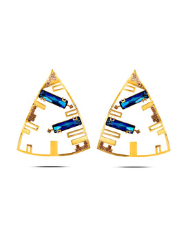 Triangular Danglers Studded with Reflective Blue Swarovski Crystals
