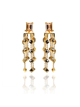 Fancy Step Cut Swarovski Chandelier Gold Earrings