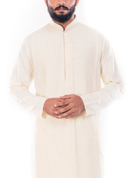 Light Beige Textured Kurta with Churidar Pants