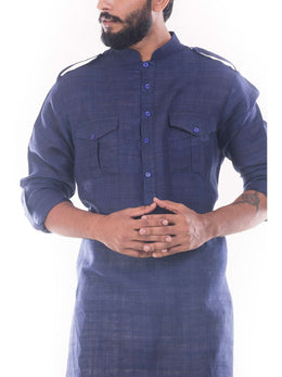 Denim Blue Pathani Suit with Salwar Pants