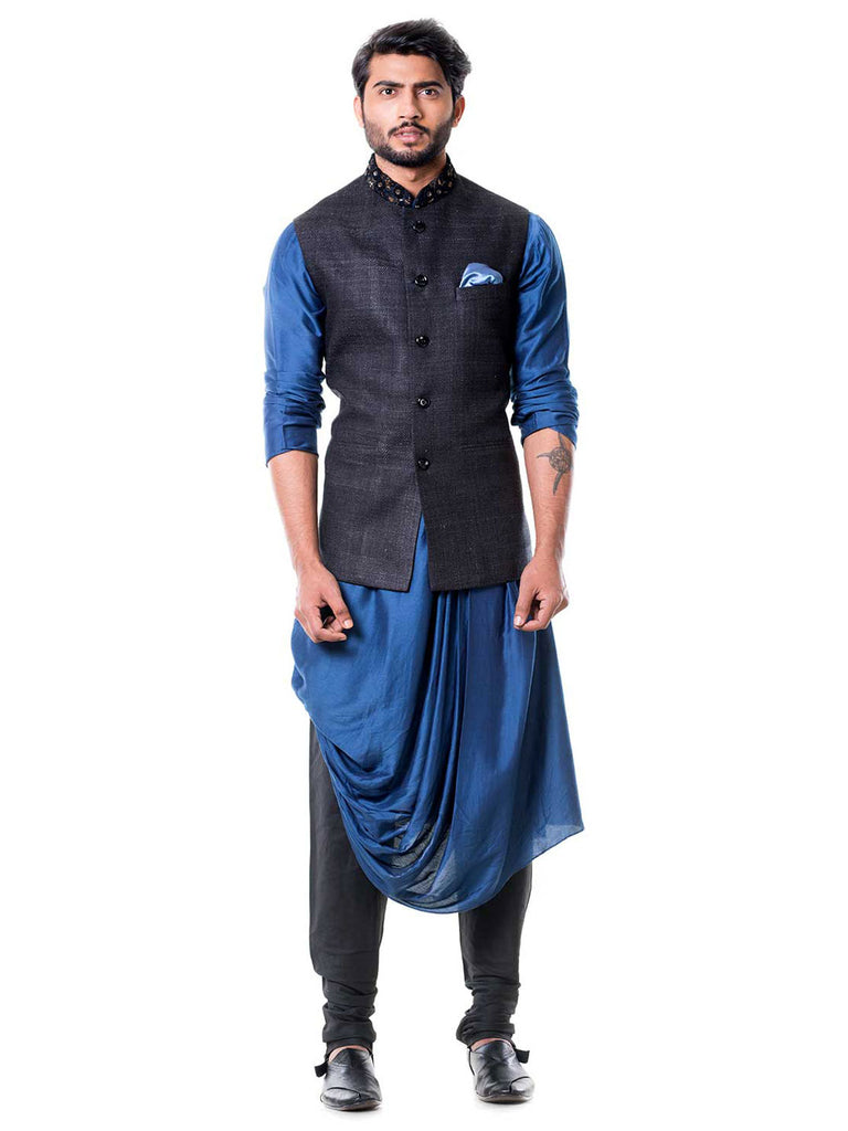 Blue Cowl Kurta Set with Embroidered Black Waist Coat