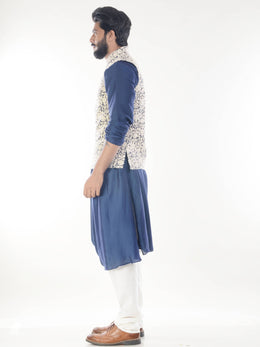 Cowl Drapped Kurta with Waistcoat and Churidar Pants