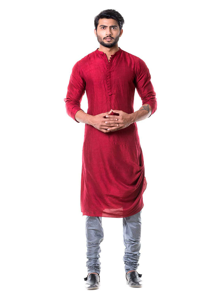 Maroon Cowl Kurta with Grey Churidar