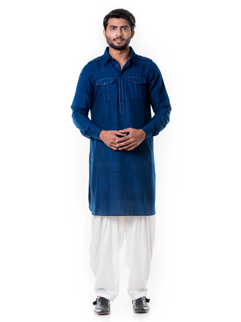 Blue Linen Pathani Set