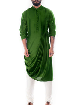 Moss Green Cowl Drapped Kurta with Churidar Pants