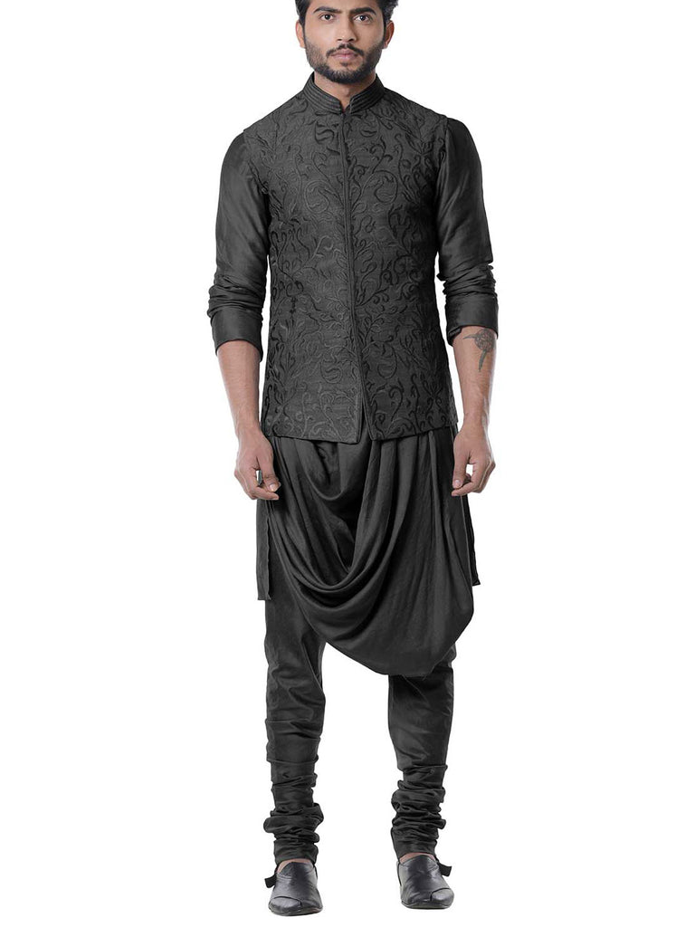 Jade Black Cowl Kurta with Embroidered Black Waist Coat