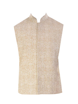 Light Beige Kurta with Cream Jacket and Churidar Pants