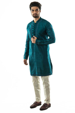Forest Green Embroidered Kurta with White Pyjama