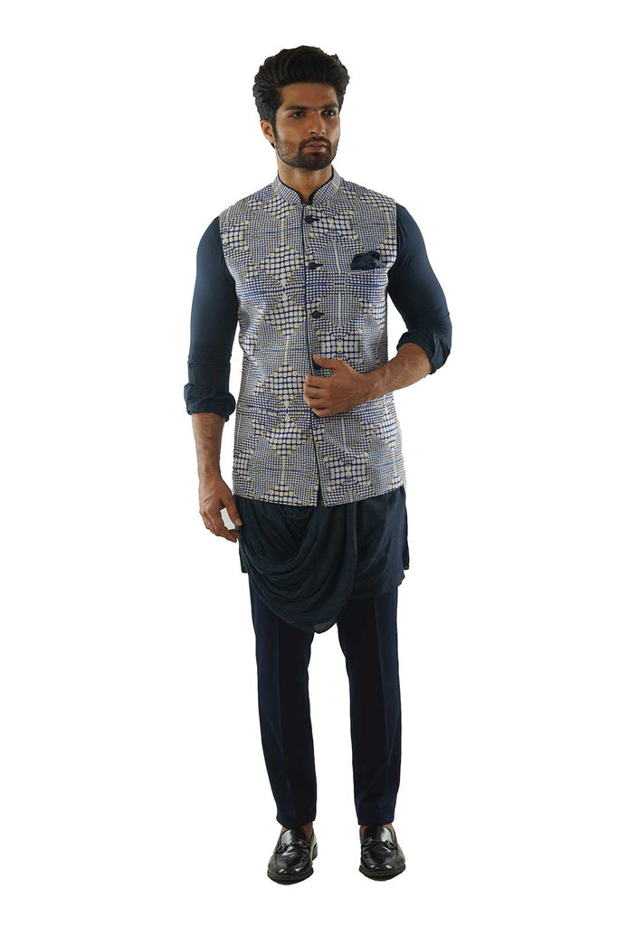 Blue Checkered Print Nehru Jacket