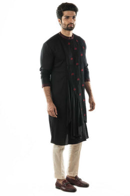 Black and Red Embroidered Pleated Kurta Set