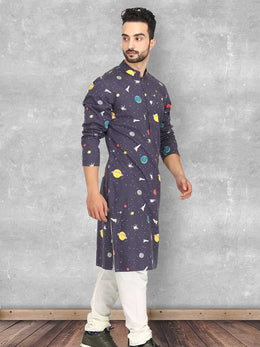 Galaxy Print Kurta with Churidaar