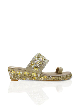 Gold Embroidered Wedges