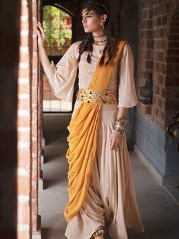 Mustard and Beige Draped Saree Set