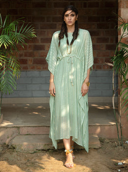 Mint Green Shimmer Georgette Kaftan