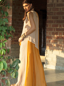 Mustard and Beige Asymmetrical Twin Set