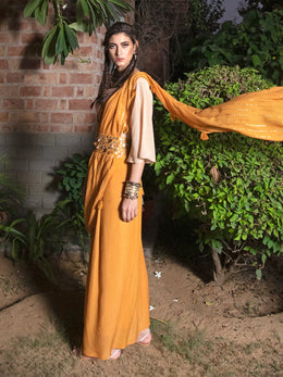 Mustard and Beige Skirt Saree