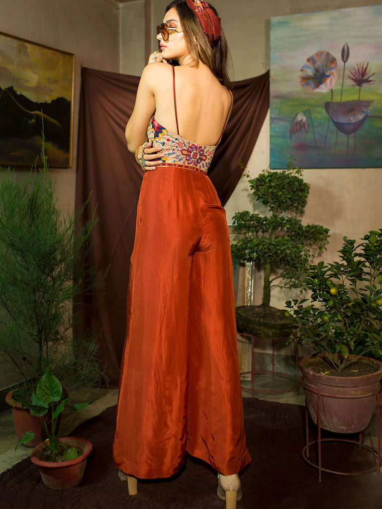 Reddish Rust Jumpsuit with Embroidery on Bodice