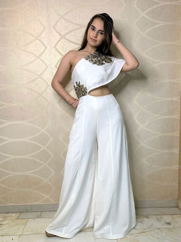 Waist Cut Out White Jumpsuit