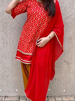 Red and Mustard Patiala Salwar