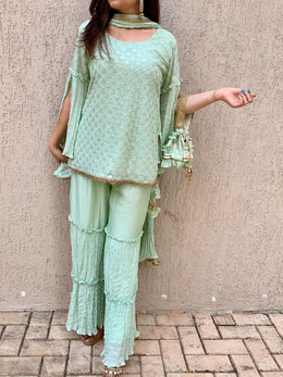 Mint Green Embroidered Sharara Set with Potli