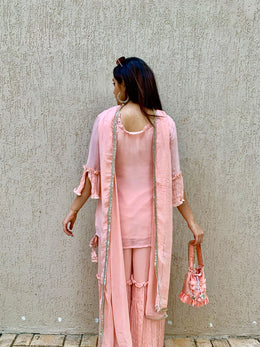 Peach Embroidered Sharara Set with Potli